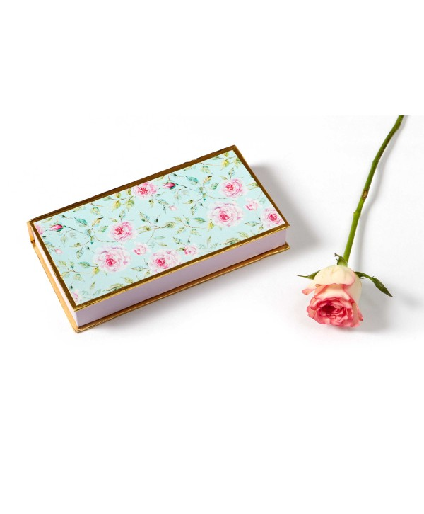 Powder Blue Floral Design Cash/Gaddi Box