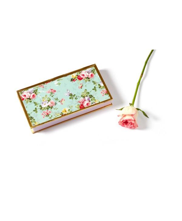 Sea Green Floral Design Personalized Cash/Gaddi Box