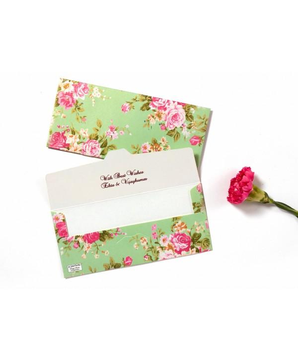 Mint Green Floral Design Money Envelopes