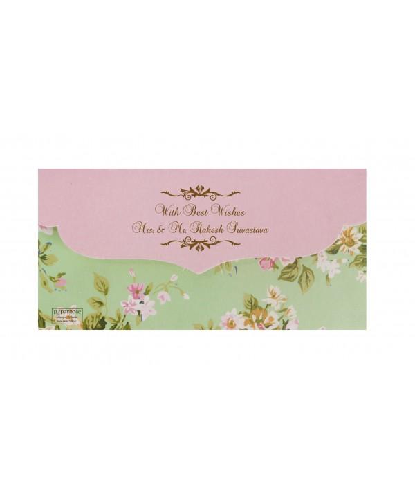 Mint Green Floral Design Money Envelopes With Pink Flap