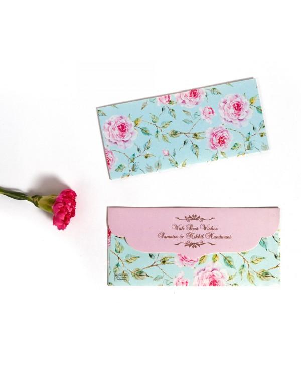 Powder Blue Floral Design Money Envelopes With Pink Flap