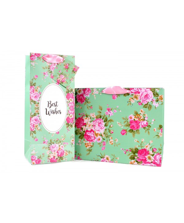 MINT GREEN FLORAL GIFT BAGS & WINE BAGS