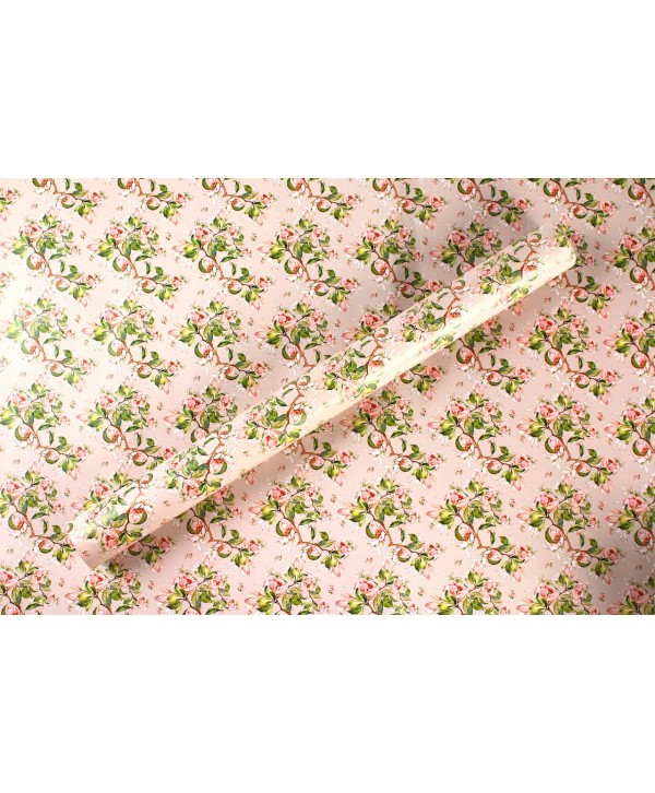 PEACH FLORAL DESIGN WRAPPING PAPER
