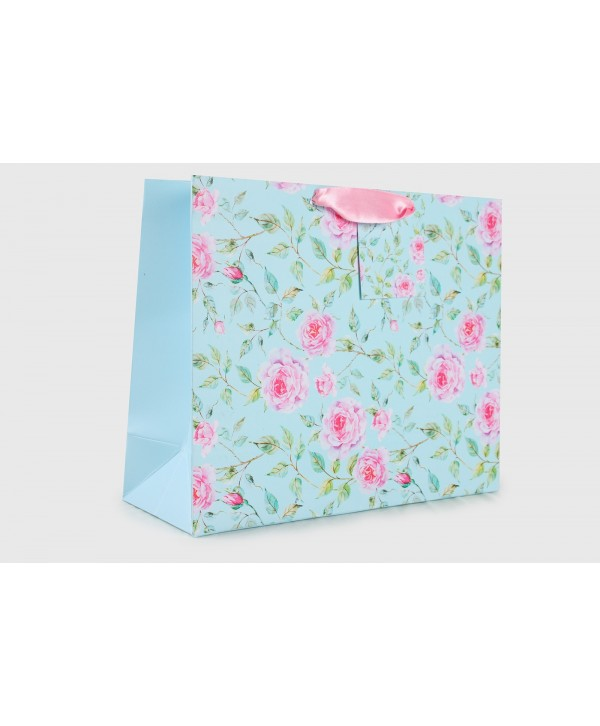 POWDER BLUE FLORAL DESIGN GIFT BAGS- PACK OF 2