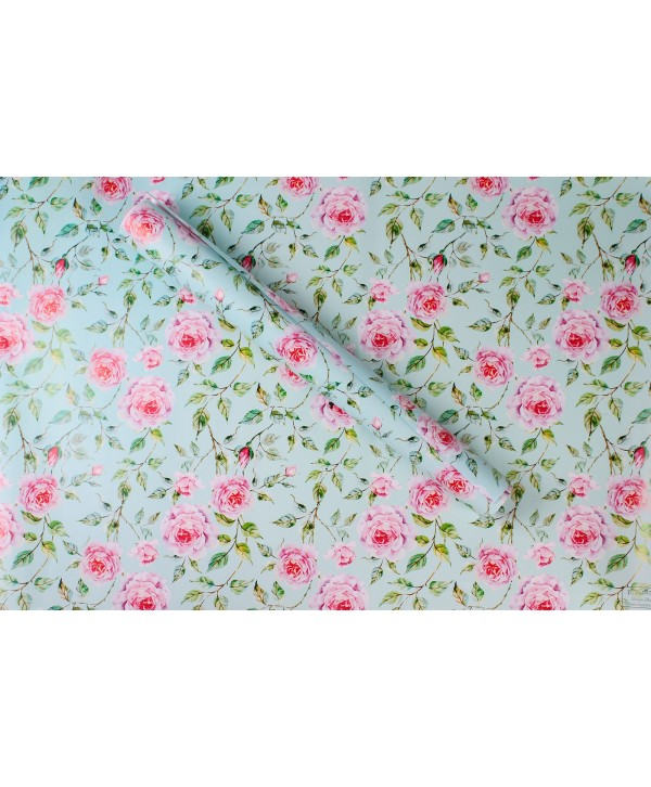 POWDER BLUE FLORAL DESIGN WRAPPING PAPER