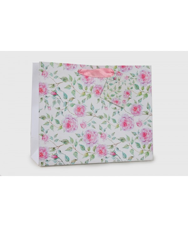 POWDER WHITE FLORAL DESIGN GIFT BAGS- PACK OF 2