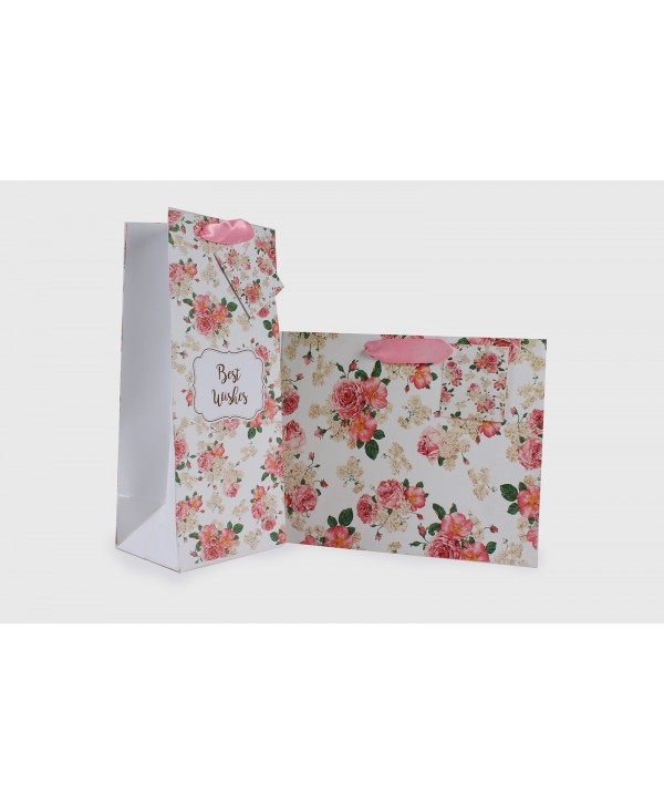 WHITE FLORAL GIFT BAGS & WINE BAGS SET