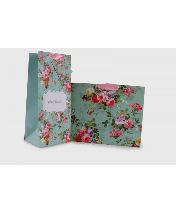 SEA GREEN FLORAL GIFT BAGS & WINE BAGS SET