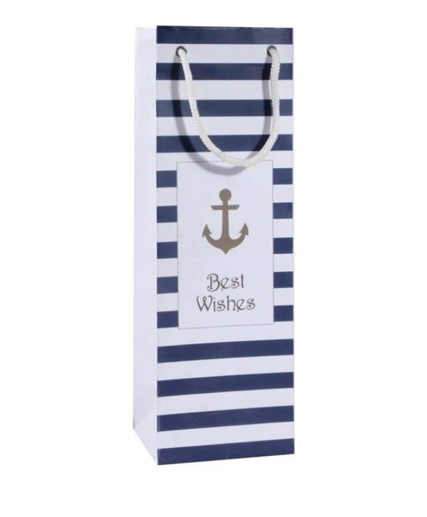 ANCHOR PRINT WINE BAGS- SET OF 2 BAGS