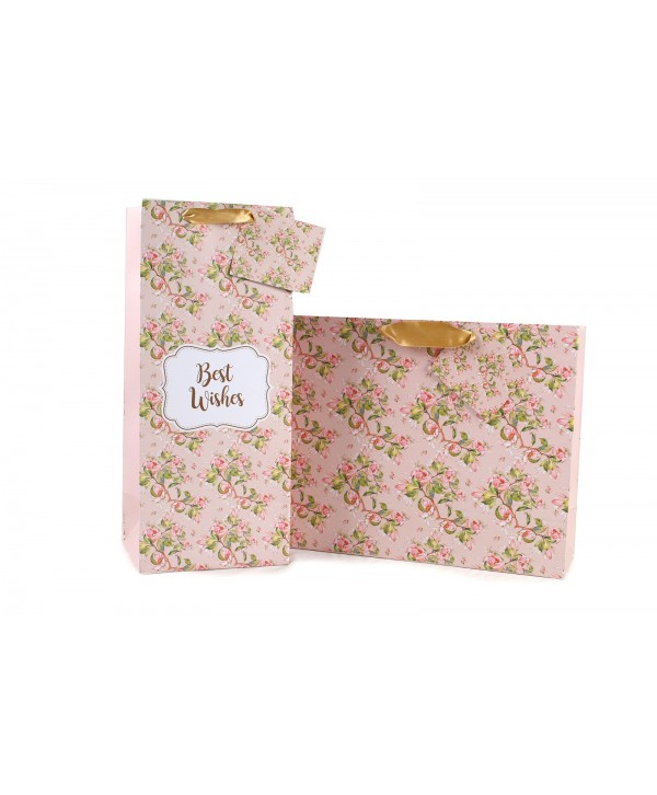 PEACH FLORAL GIFT AND WINE BAGS SET