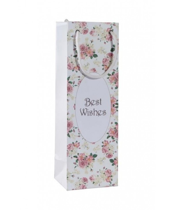 WHITE FLORAL WINE BAGS- SET OF 2 BAGS