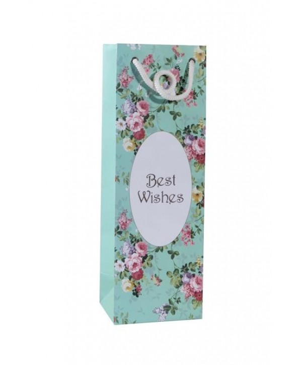 SEA GREEN FLORAL WINE BAGS- SET OF 2 BAGS