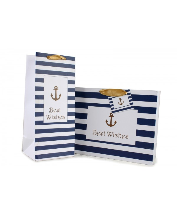ANCHOR PRINT GIFT BAGS & WINE BAGS SET