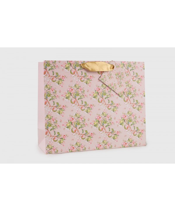 PEACH FLORAL DESIGN GIFT BAGS- PACK OF 2