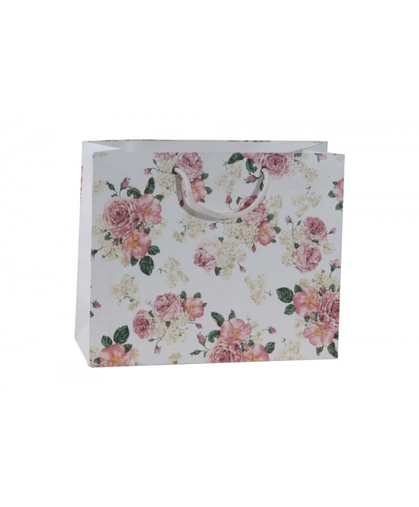 WHITE FLORAL GIFT BAGS- SET OF 2 BAGS