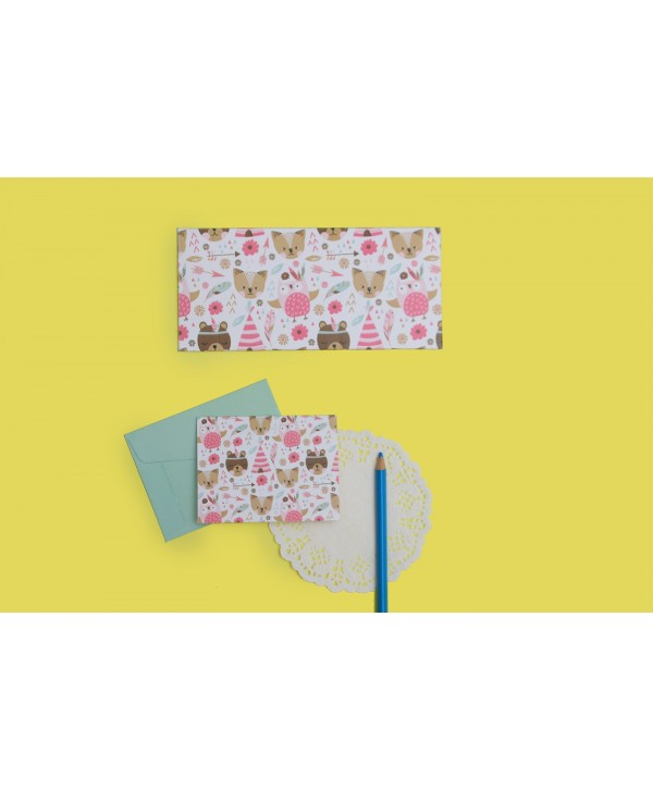 Boho Bear Theme Envelopes And Tags
