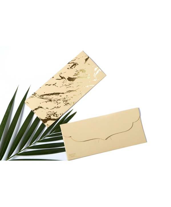 Marble Design Gold Foiled Money/Shagun Envelopes-Beige- Set Of 10