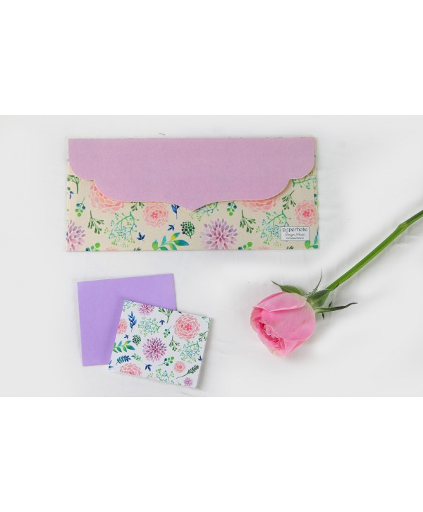 Off- White Floral Envelopes And Tags