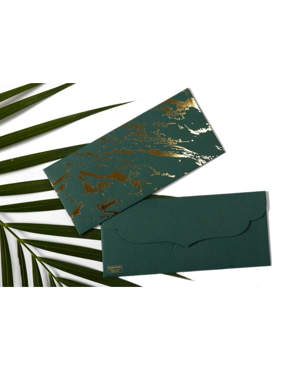 Marble Design Gold Foiled Money/Shagun Envelopes-Dark Green- Set Of 10