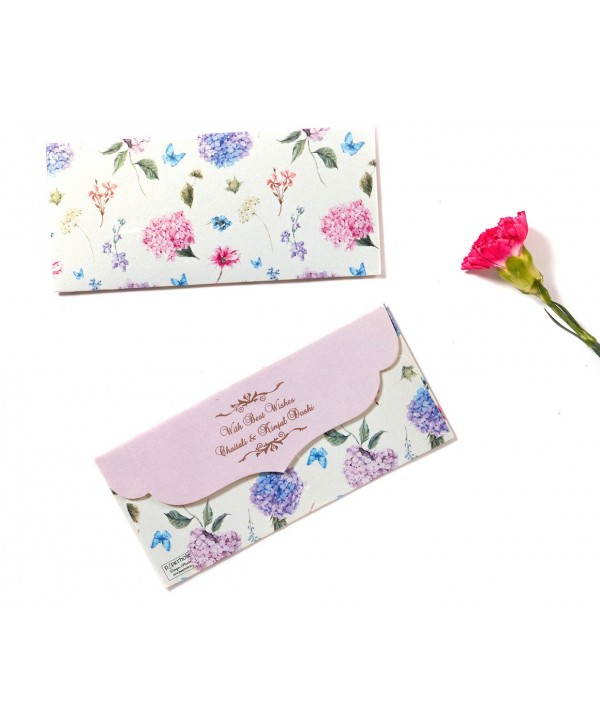 Hydrangea Design Money/Shagun Envelopes With Mauve Flap