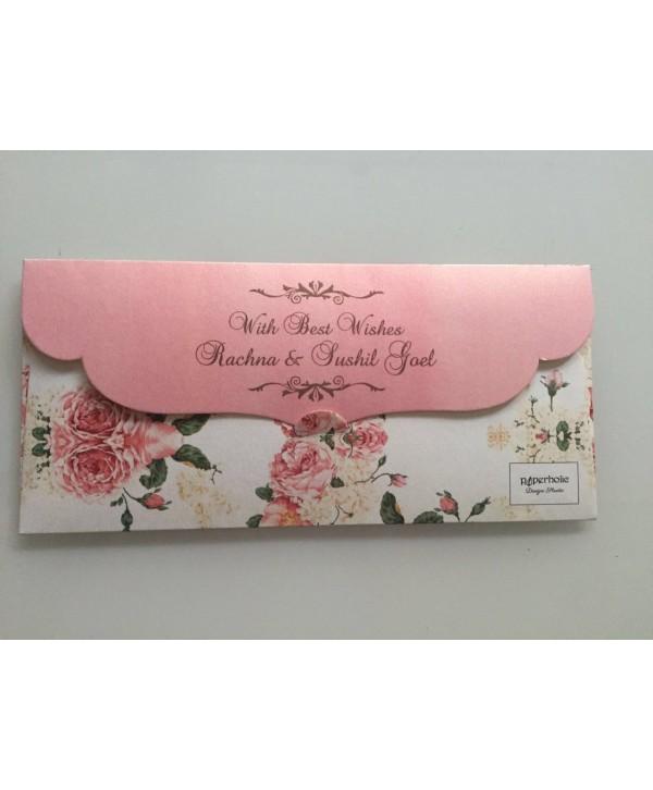 White Floral Money/Sagan Envelopes With Pink Flap