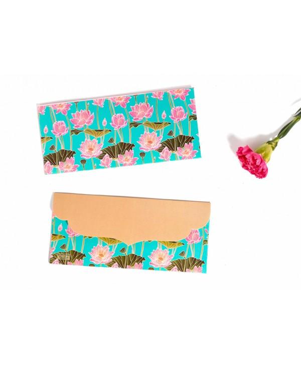 Lotus Design Personalized Money/Shagun Envelopes(Gold Flap)