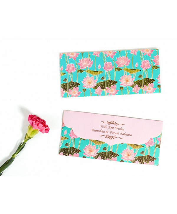 Lotus Design Personalized Money/Shagun Envelopes(Pink Flap)