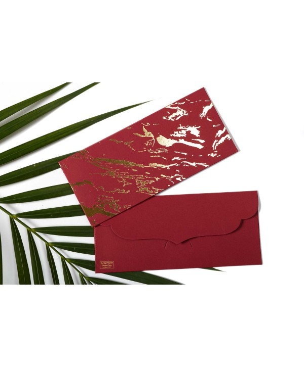 Marble Design Gold Foiled Money/Shagun Envelopes-Maroon- Set Of 10
