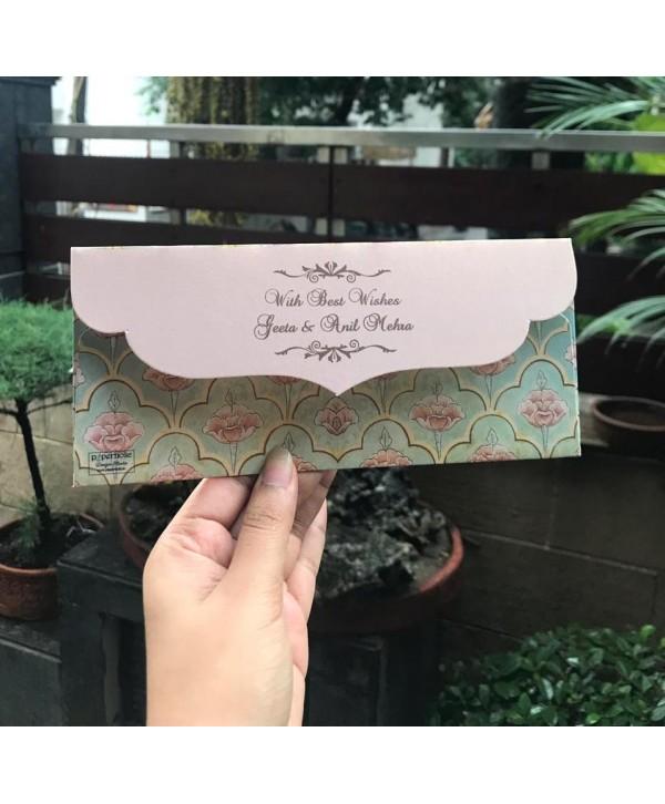 Mughal Theme Money Envelopes With Peach Flap