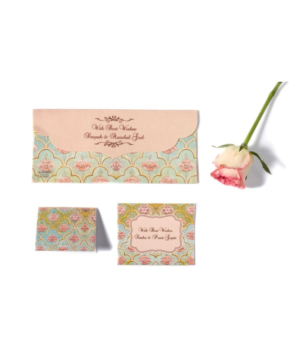 Mughal Design Personalized Envelope & Tag Combo