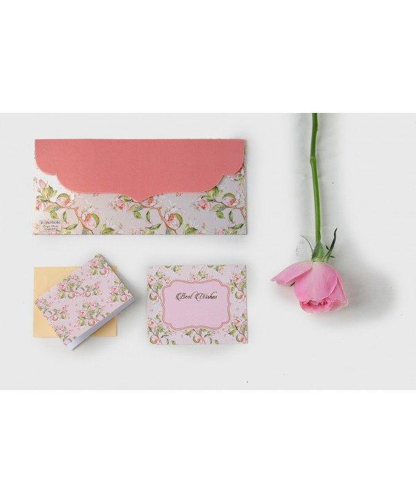 Peach Floral Design Envelopes And Tags
