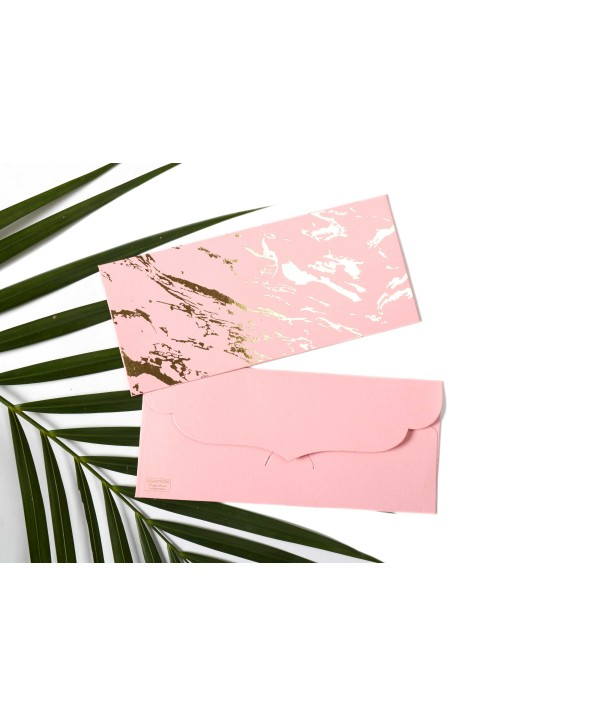 Marble Design Gold Foiled Money/Shagun Envelopes-Light Pink- Set Of 10