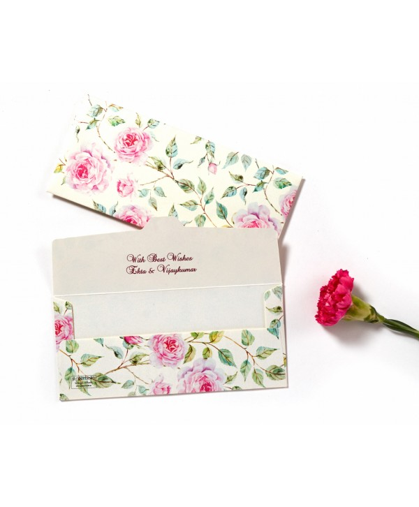 Powder White Floral Design Money/Shagun Envelopes