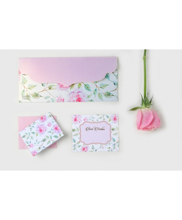 Powder White Floral Envelopes And Tags