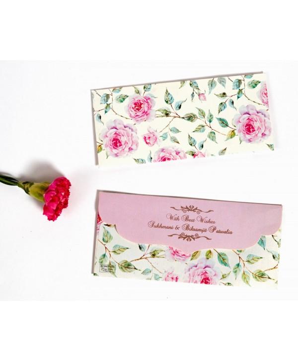 Powder White Floral Design Money/Shagun Envelopes With Pink Flap