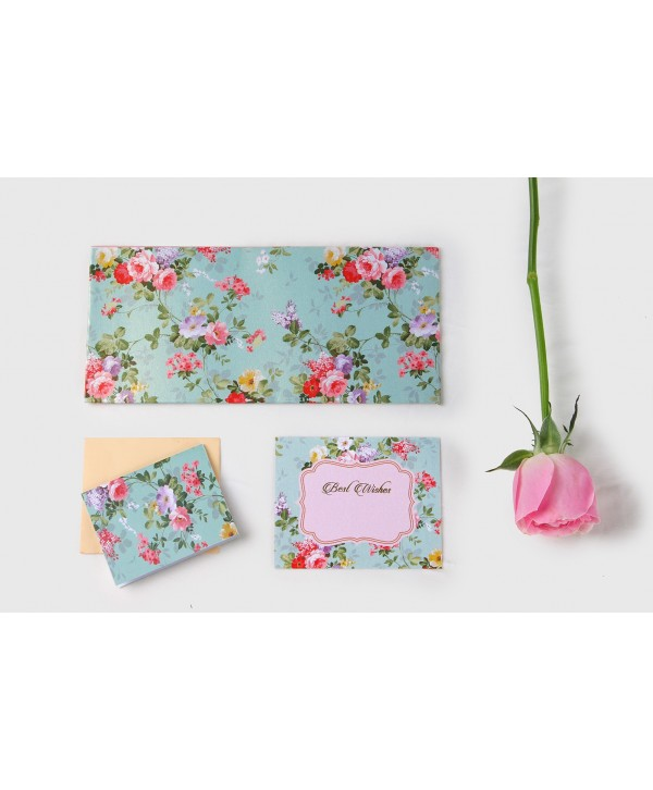 Sea Green Floral Envelopes And Tags