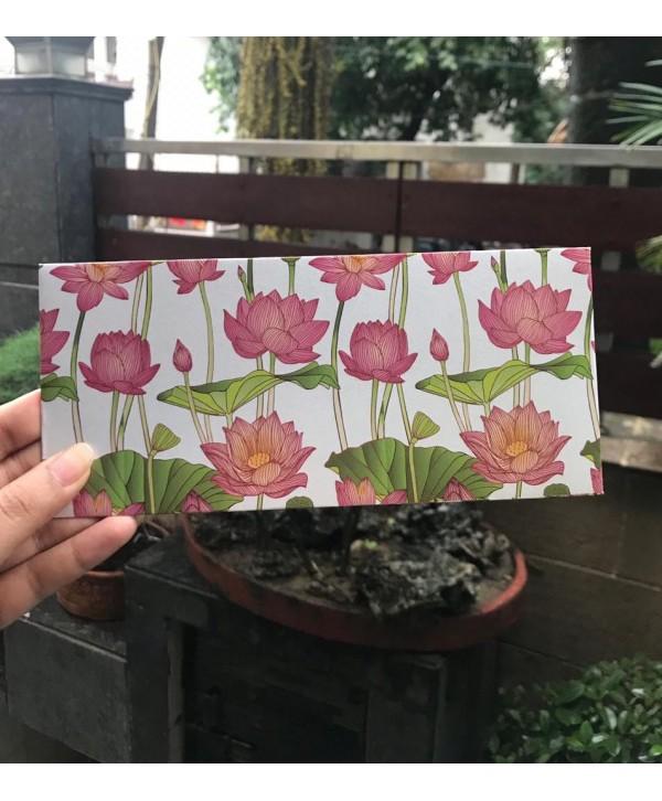 White Lotus Design Money Envelopes With Pink Flap