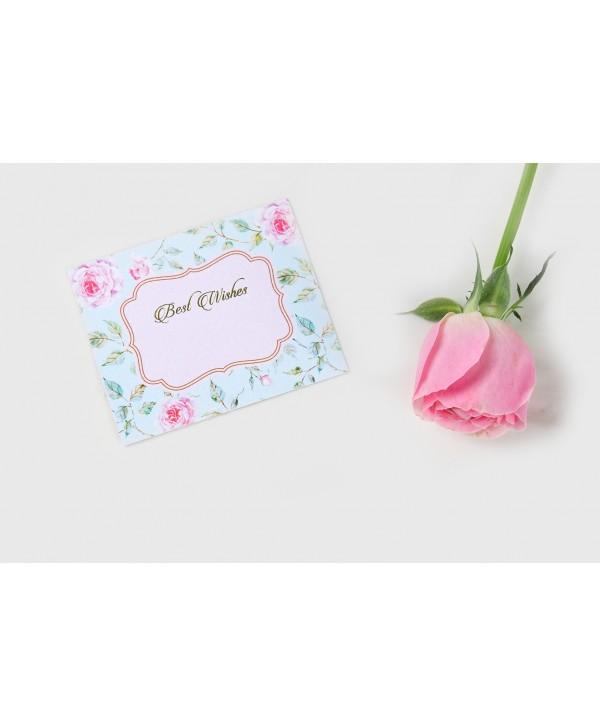 Powder Blue Floral Design Flat Cards