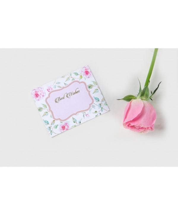 Powder White Floral Design Flat Cards