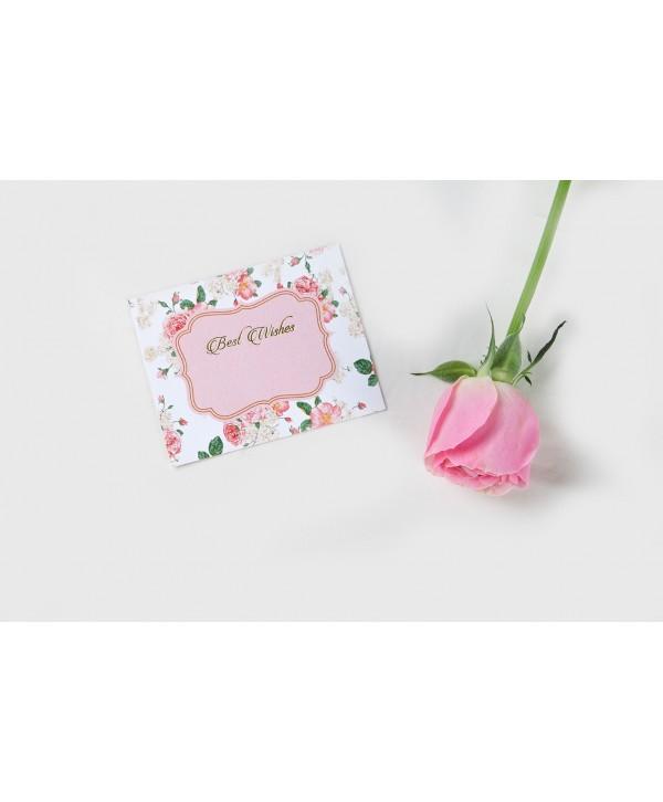White Floral Design Flat Cards