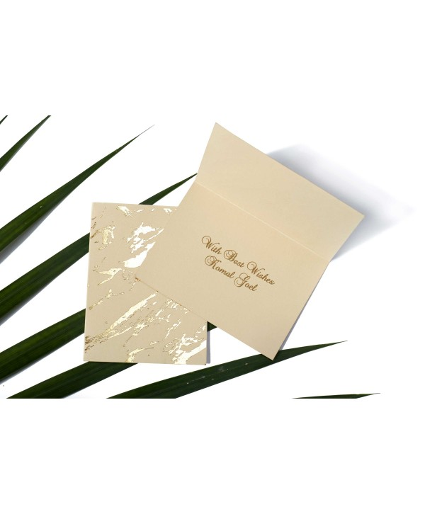 Marble Design Gold Foiled Personalized Gift Tags Folded- Beige