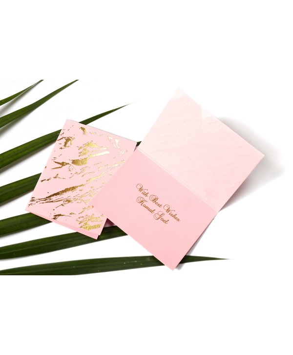 Marble Design Gold Foiled Personalized Gift Tags Folded- Light Pink