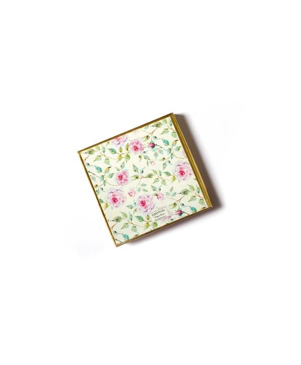 Powder White Floral Design Personalized Gold Coin/Ginni Box