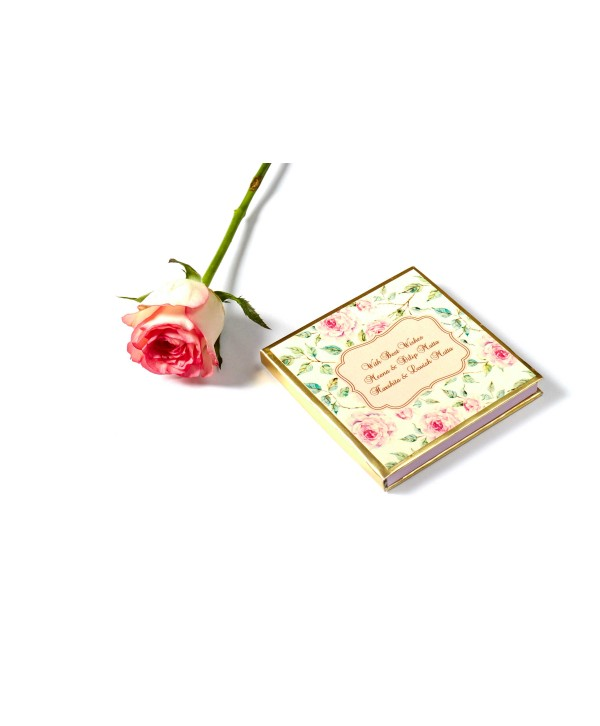Powder White Floral Design Gold Coin/Ginni Box