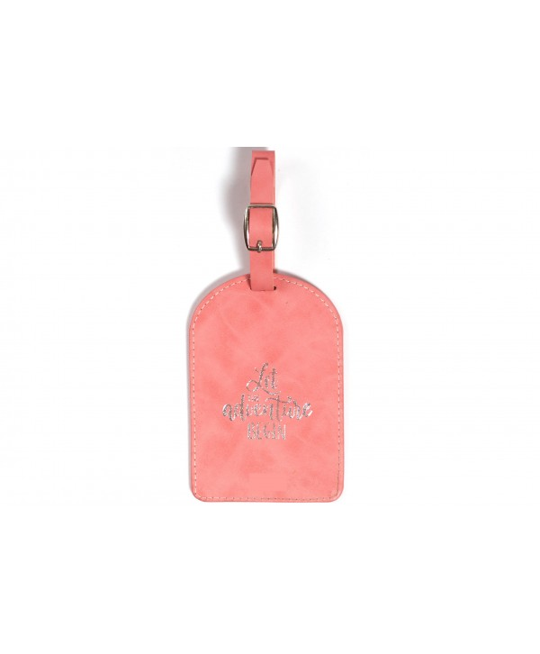 Let The Adventure Begin Luggage Tag- Pink Texture
