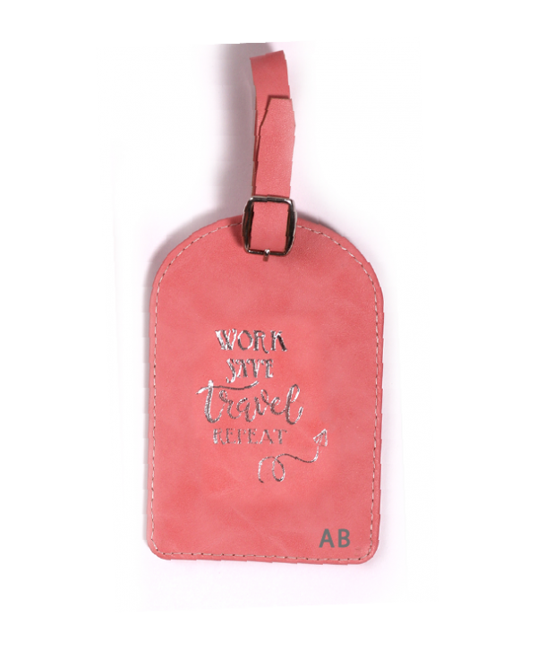 Work Save Travel Repeat Luggage Tag- Pink Texture- Personalized