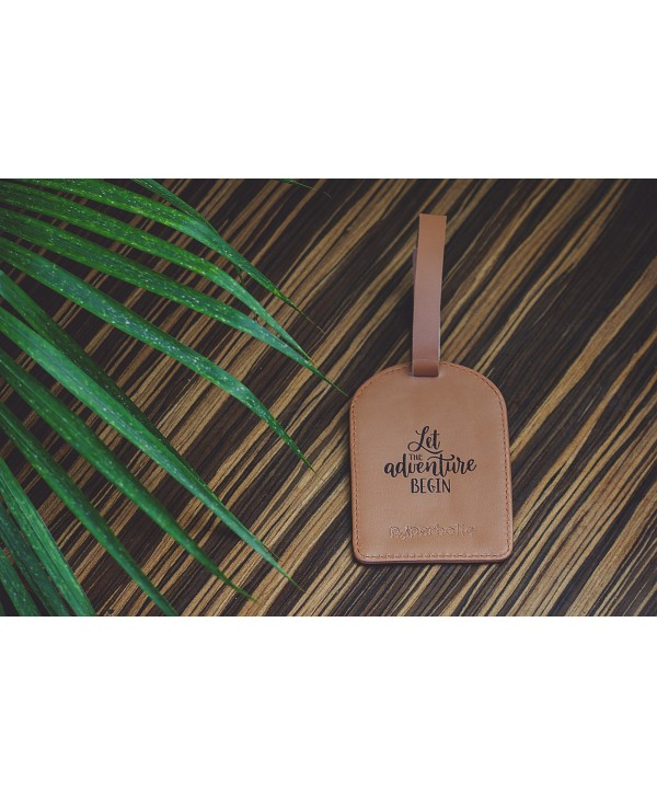 Let The Adventure Begin Luggage Tag- Tan Color- Personalized