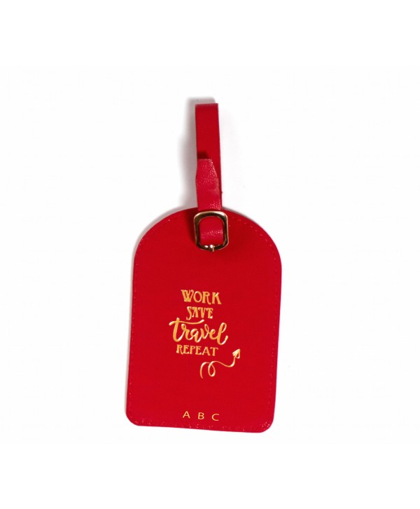 Work Save Travel Repeat Luggage Tag- Red- Personalized