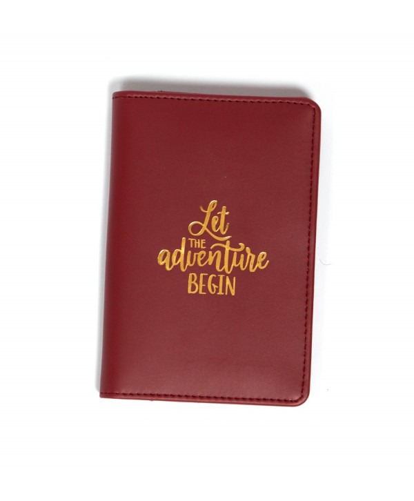 Let The Adventure Begin Passport Cover- Burgandy