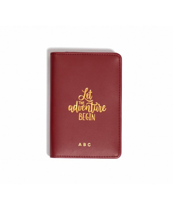 Let The Adventure Begin Passport Cover- Burgandy- Personalized